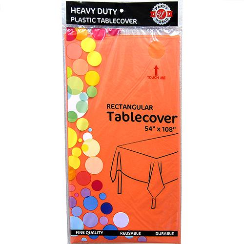 "Wholesale Orange Plastic Tablecover 54"" x 108"""