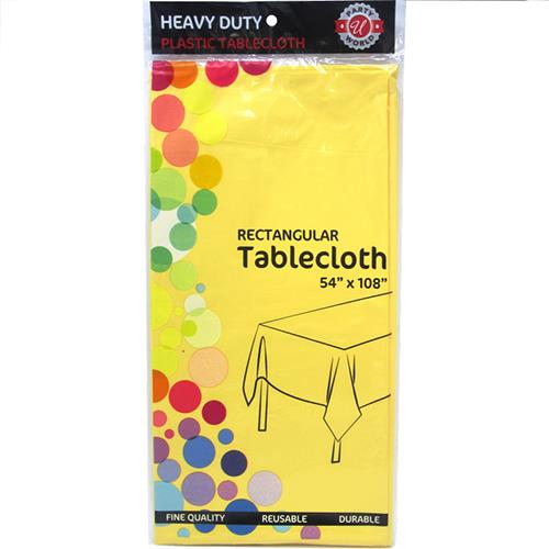 """Wholesale Yellow Plastic Tablecover 54"""" x 108"""""""