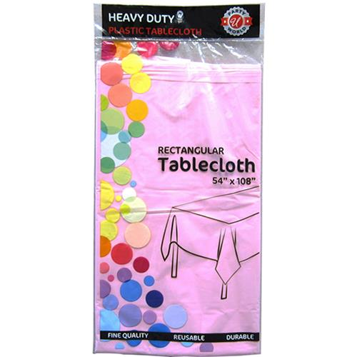 "Wholesale Light Pink Plastic Tablecover 54"" x 108"""