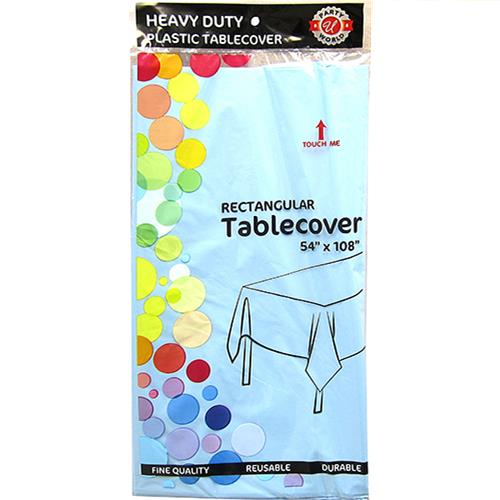 "Wholesale Light Blue Plastic Tablecover 54"" x 108"""