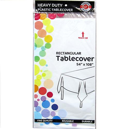 "Wholesale White Plastic Tablecover 54"" x 108"""