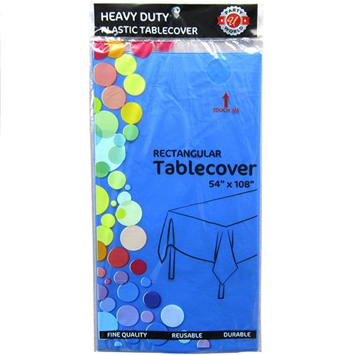 "Wholesale Royal Blue Plastic Tablecover 54"" x 108"""