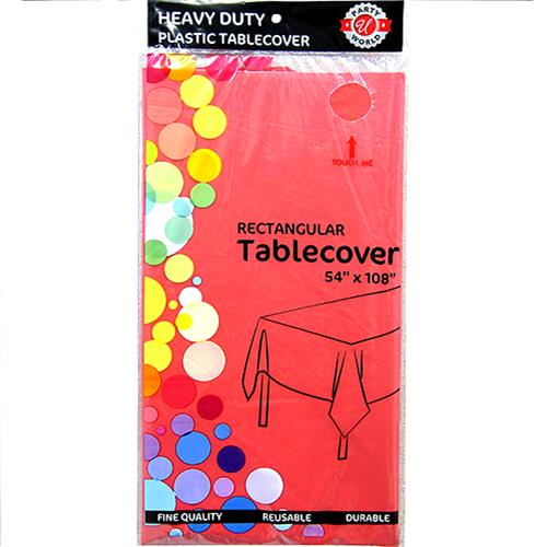 "Wholesale Watermelon Red Plastic Tablecover 54"" x 108"""
