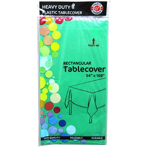 "Wholesale Hunter Green Plastic Tablecover 54"" x 108"""