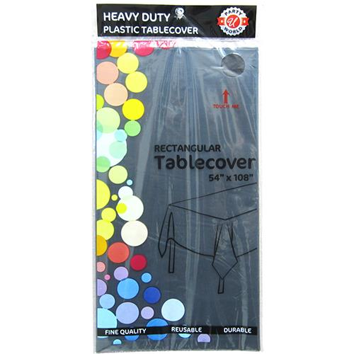 "Wholesale Black Plastic Tablecover 54"" x 108"""