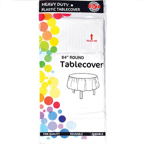 "Wholesale WHT PLASTIC TABLECVR 84"" ROUND"