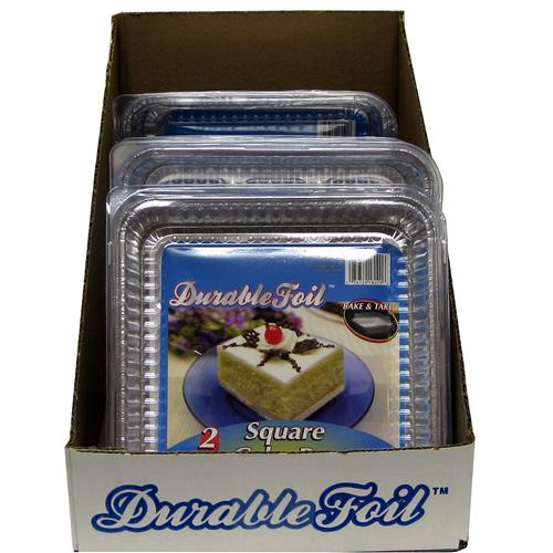 Wholesale Foil Square Cake Pan w/Lid 7 3/8 x 7 3/8 x 1 5/16""""