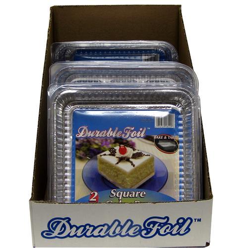 "Wholesale Foil Square Cake Pan w/Lid 7 3/8 x 7 3/8 x 1 5/16"""""