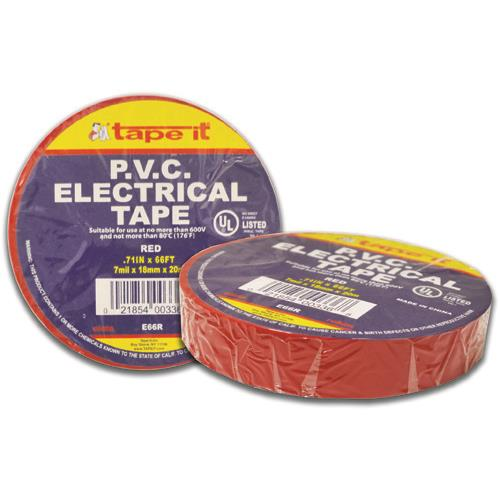 """Wholesale ELECTRICAL TAPE 3/4""""x66' RED PVC"""