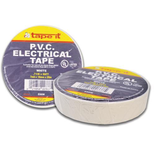 """Wholesale ELECTRICAL TAPE 3/4""""x66' WHITE PVC"""