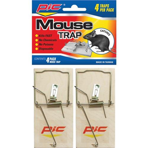 Wholesale Pic Wood Mouse Spring Traps 4 Pack