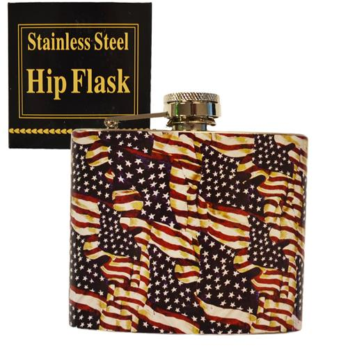 Wholesale STAINLESS HIP FLASK 5OZ FLAG D