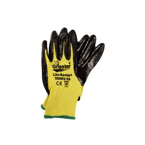 Wholesale 1 pair Dipped Glove, Gripster Lite Sz M Palm Dip Blk Ntrl, Kev/Lycra.