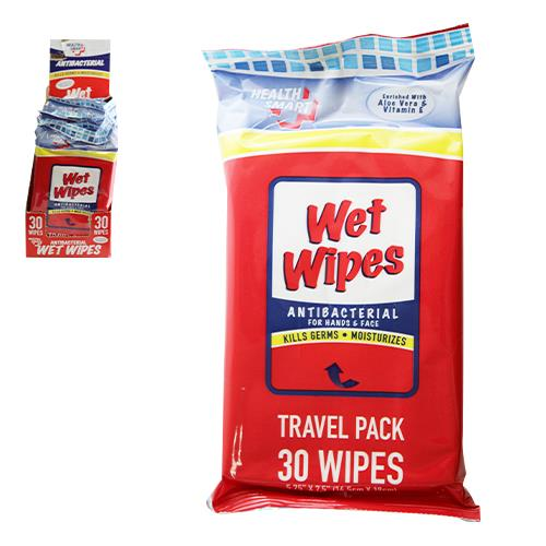 Wholesale 30ct ANTI-BACTERIAL WET WIPES