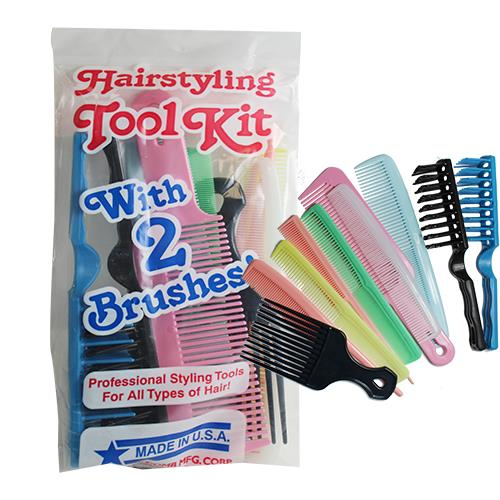 Wholesale 12PC HAIRSTYLING KIT 10 COMBS & 2 BRUSHES