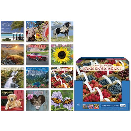 Wholesale 2015 16-Month Wall Calendar 12 Assorted in Counter