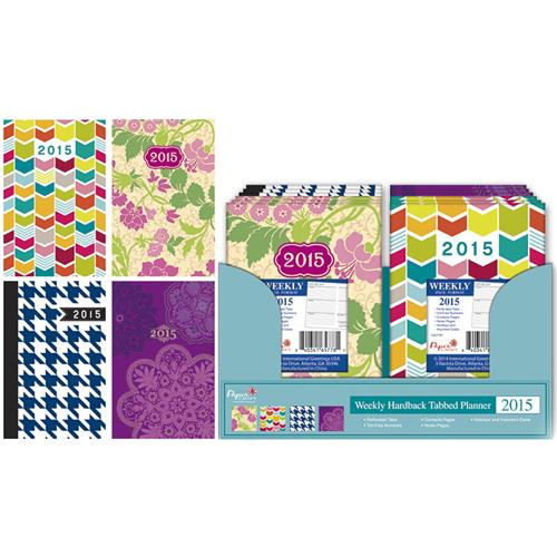Wholesale 2015 Weekly Hard Back Tabbed Planner 4 Asst in C/D