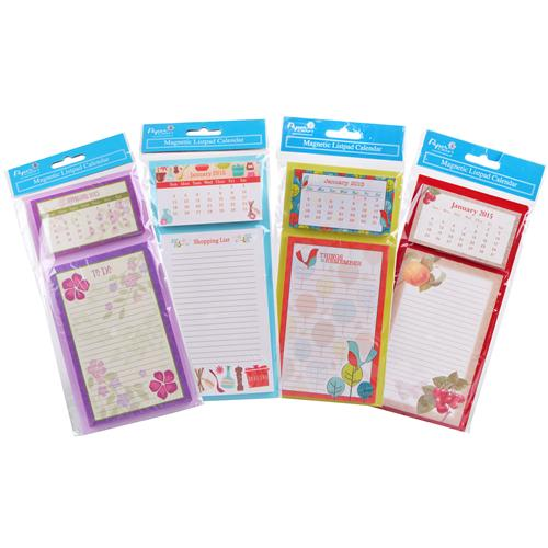Wholesale 2015 Magnetic Listpad Calendar 4 Assorted in Clip
