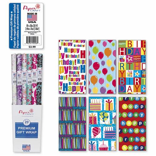 Wholesale Everyday Wrap Birthday 20 Square Feet Floor Displa