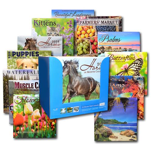 Wholesale 2016 16-Month Wall Calendar 12 Assorted in Counter