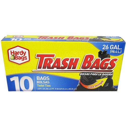 Wholesale 10 COUNT 26 GALLON BLACK TRASH BAGS 27.75x33''