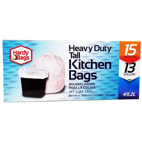 Wholesale 15 COUNT 13 GALLON HEAVY DUTY TALL KITCHEN BAGS .7 MIL 24x29.5''
