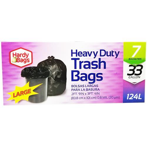 Wholesale 7CT 33GAL HEAVY DUTY TRASH BAGS .8MIL 33x40''