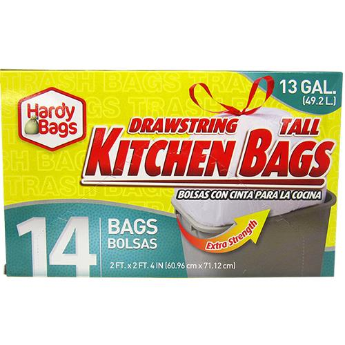 Wholesale 14 COUNT 13 GALLON DRAW STRING TALL KITCHEN BAGS 24x28''