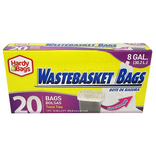 Wholesale 20 COUNT 8 GALLON WASTEBACKET BAGS 22x24''