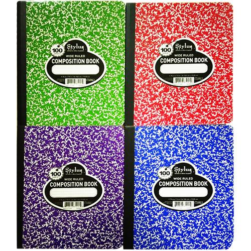 Wholesale COMPOSITION NOTEBOOK 100 SHEET 4 ASTD COLORS