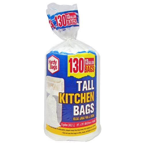 Wholesale 130 COUNT 13 GALLON WHITE TALL KITCHEN BAGS 24x30''