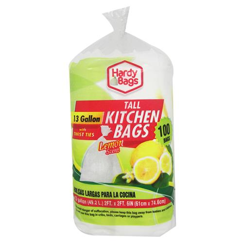 Wholesale 100 COUNT 13 GALLON TALL KITCHEN BAGS LEMON SCENTED 24x30''