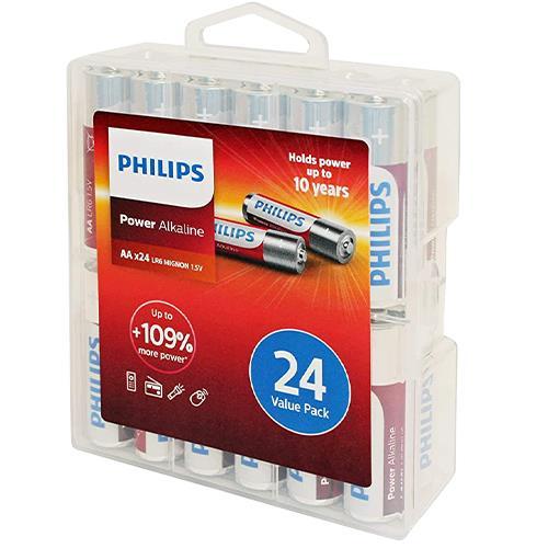 Wholesale 24PK AA ALKALINE BATTERIES IN PLASTIC STORAGE BOX