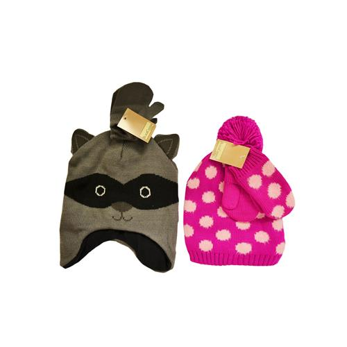 Wholesale KID'S KNIT ANIMAL HAT W/GLOVES