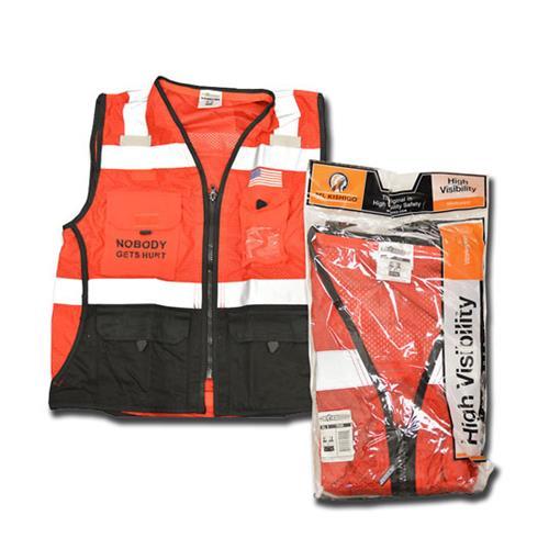 Wholesale Hi Vis Vest, Sz 5X  W/ 3  Kiewit Logos, ANSI 2, HVO Polyester