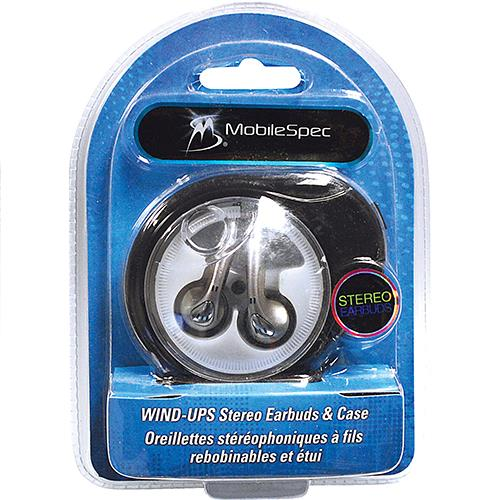 Wholesale Mobilespec Stereo Earbuds with wind-up carrying case.