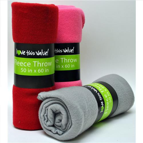 Wholesale Fleece Throw Solid Assorted 50x60""