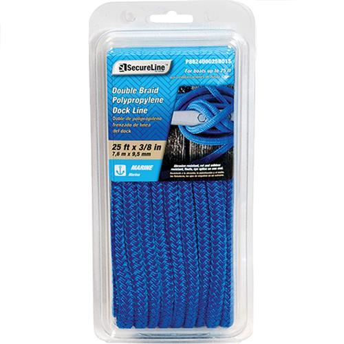 "Wholesale 25'x3/8"" DOUBL BRAID DOCK ROPE"