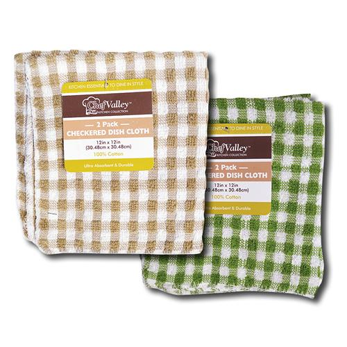 "Wholesale 12"" x 12"" Yarn Dyed Dish Cloths 2 Pk"