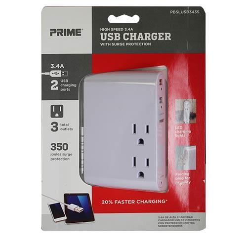 Wholesale 3 OUTLET + 2 3.4A USB PORTS 350 JOULES FOLDING PLUG