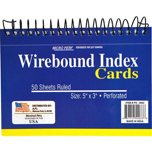 "Wholesale 3"" x 5"" WIRE BOUND INDEX CARDS"