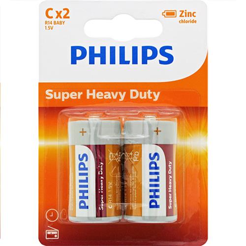 Wholesale Phillips Heavy Duty C Batteries 2 ct