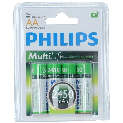 Wholesale 4PK PHILIPS AA RECHARGEABLE BATTERY 2450 mAh