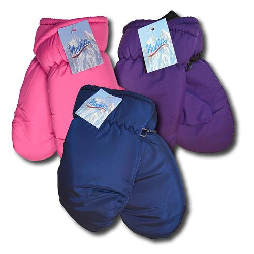 Wholesale Microfleece Ladies Ski Mitten 5 Solid Colors - Size Large- Fits most