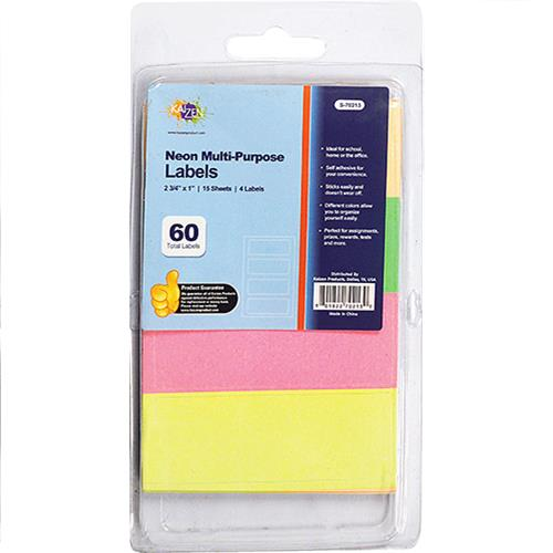 "Wholesale Kaizen Neon Multi-Purpose Labels 2 3/4"" x 1"" 4 Colors"