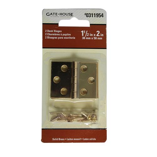 Wholesale 2PK SOLID BRASS DESK HINGES 1-1/2 x 2""