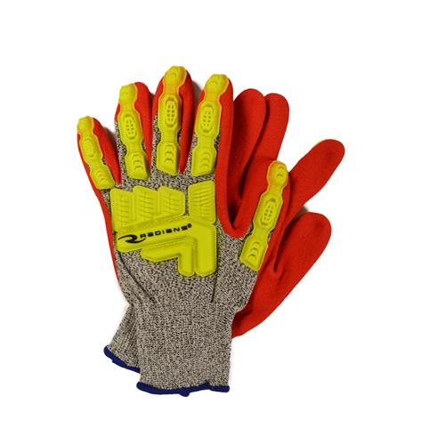 Wholesale Cut Glove, sz 2XL, Gry 13Ga HPPE Shell, ANSI A5, Hv Red Sandy Foam Ntrl Palm Coa