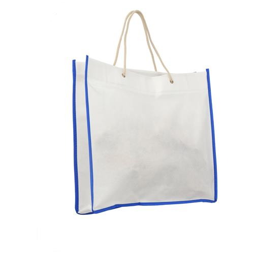 Wholesale WHITE & BLUE NONWOVEN PP BAG 15.75x14x3'' 80 GSM ROPE HANDLES
