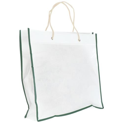 Wholesale WHITE & GREEN NONWOVEN PP BAG 15.75x14x3'' 80 GSM ROPE HANDLES