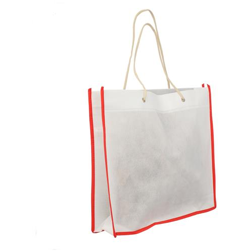 Wholesale WHITE & RED NONWOVEN PP BAG 15.75x14x3'' 80 GSM ROPE HANDLES